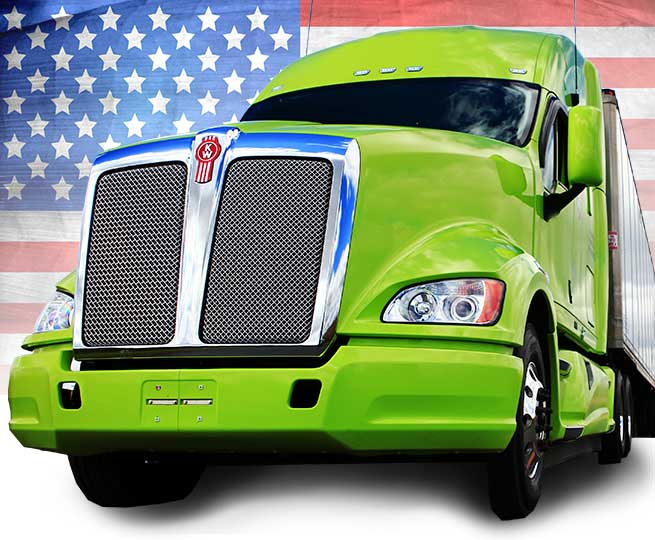 Truck in front of the American flag
